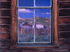 bodie, state, historical, park, glass, watercolor, reflection, window