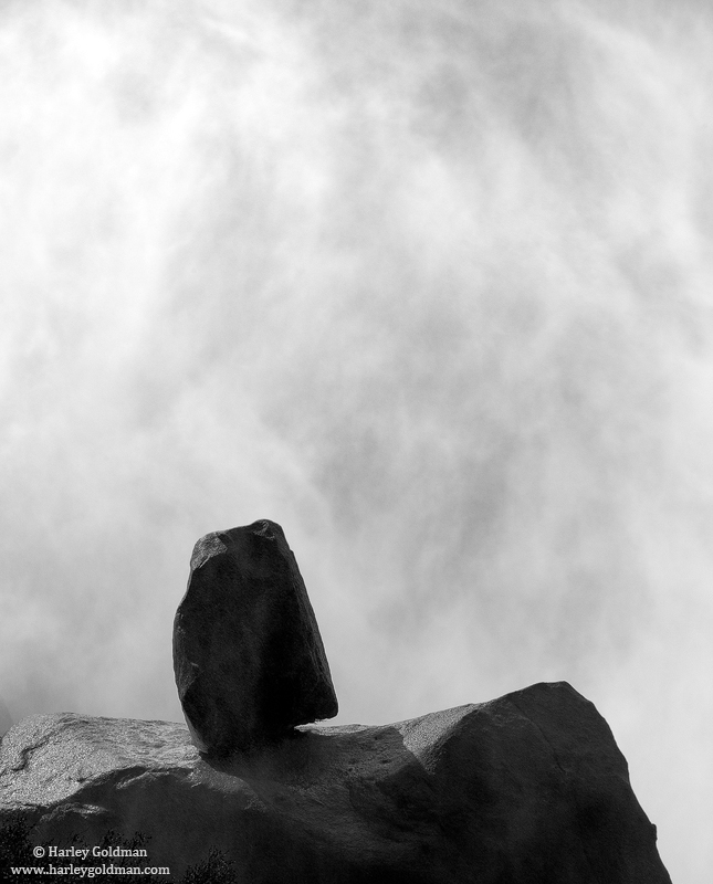 balancing, act, yosemite, nevada, falls, boulder, granite, photo