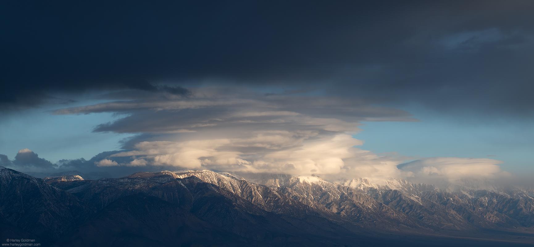 death, valley, desert, sierra, nevada, mountain, mountains, cloud, clouds, morning, dawn, fog, snow