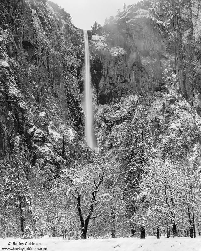 bridal, veil, fall, snow, yosemite, national, park, valley, photo