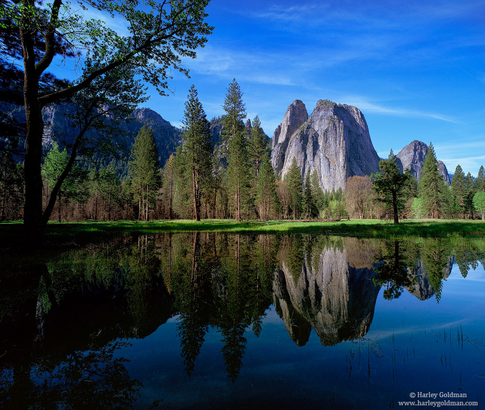 cathedral, rock, reflection, yosemite, valley, national, park, photo