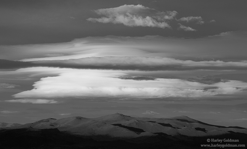 """While the lenticuar """"Sierra Wave"""" clouds were happening the north and south, this is a look to the east."""