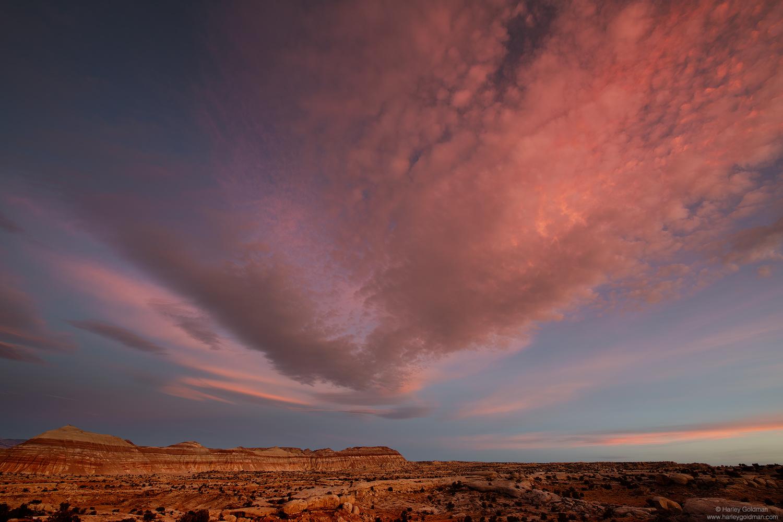 Utah, cloud, butte, desert, sky, rock, sunrise