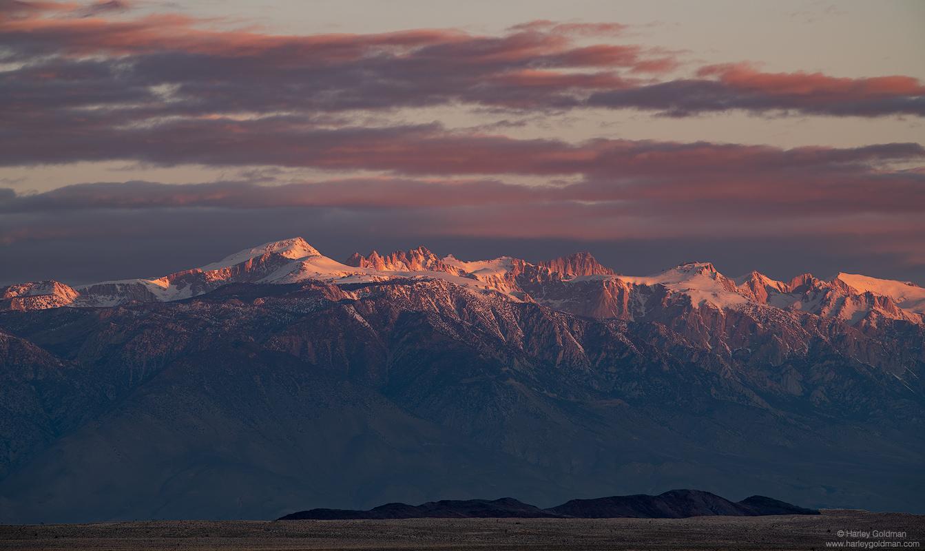 death, valley, crest, dawn, sierra, nevada, mountain, mountains, cloud, clouds, sunrise, desert
