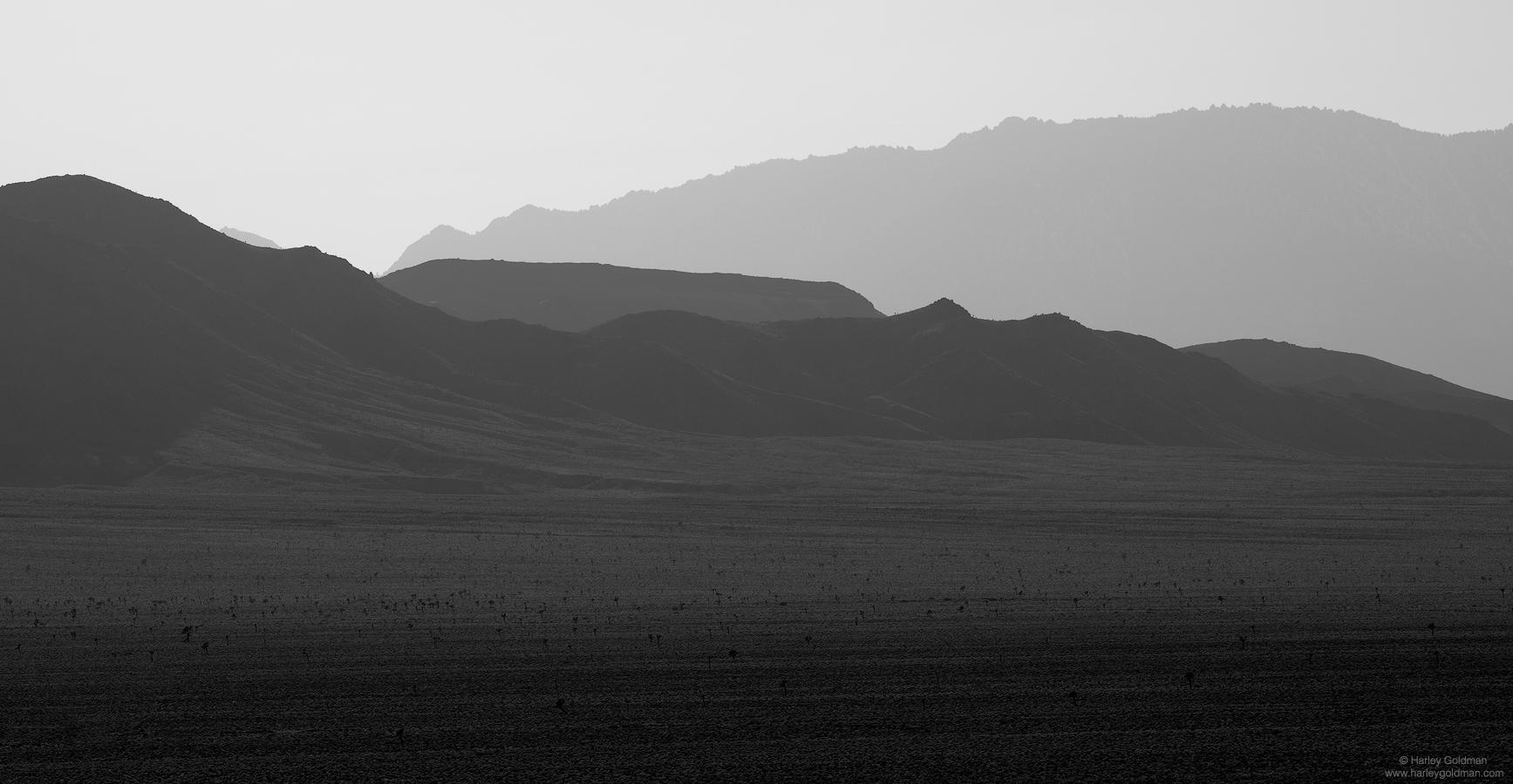 death, valley, desert, layers, haze