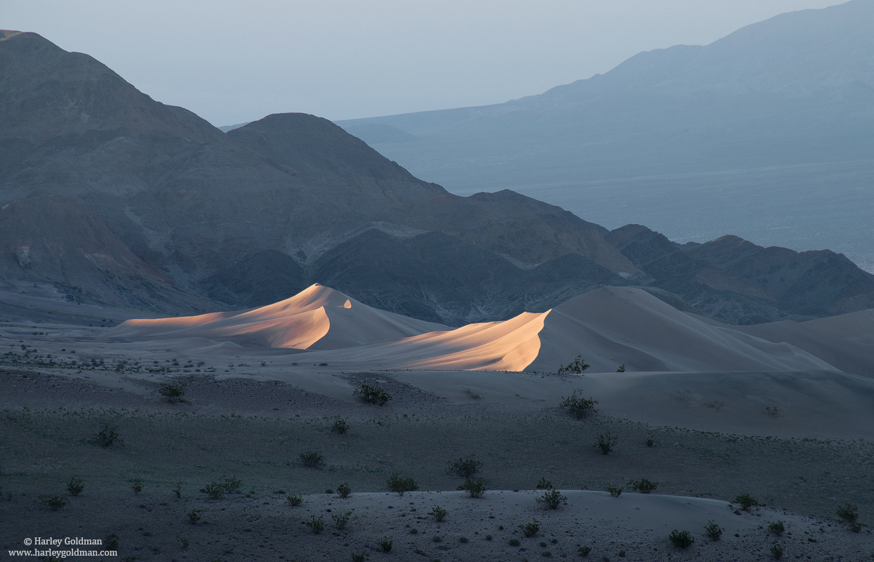 dune, sunrise, death valley, national park, glow, photo