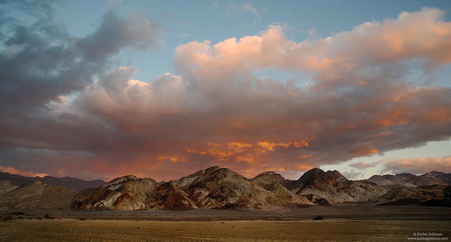 death valley, national, park, evening, sunset, cloud, mountain, hill, desert