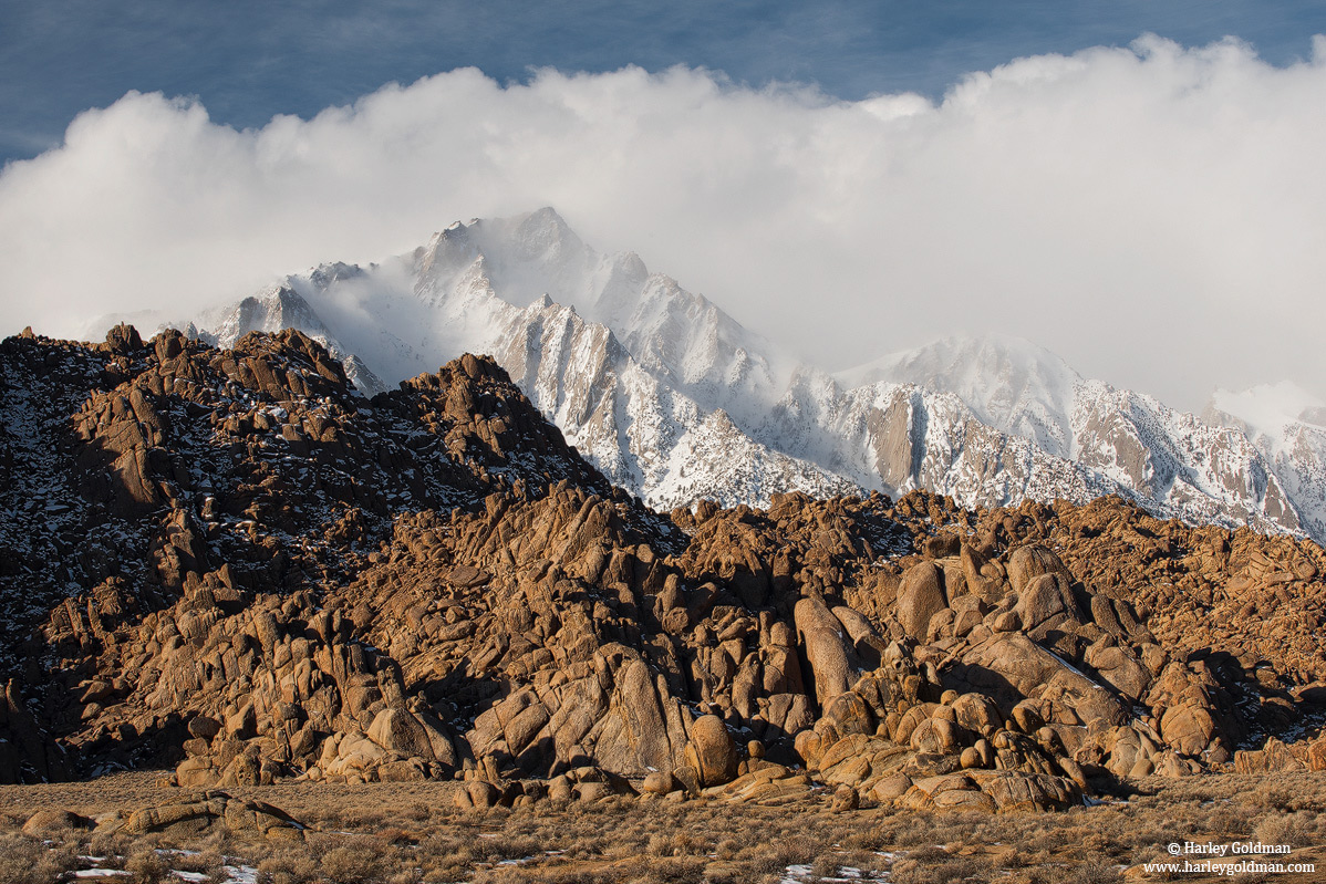 alabama hills, sierra, nevada, lone pine, fog, photo