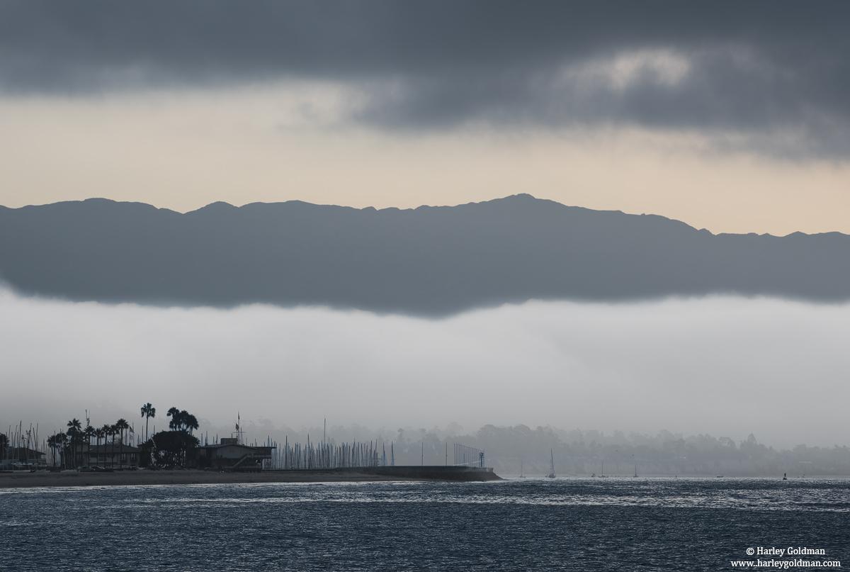 santa barbara, harbor, fog, CA, water, ocean
