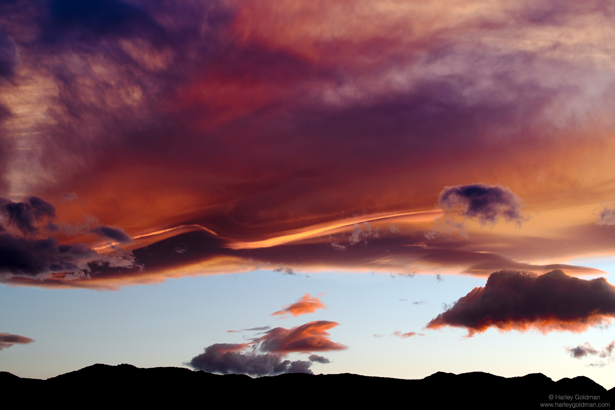 Lenticular clouds, also commonly called the Sierra Wave