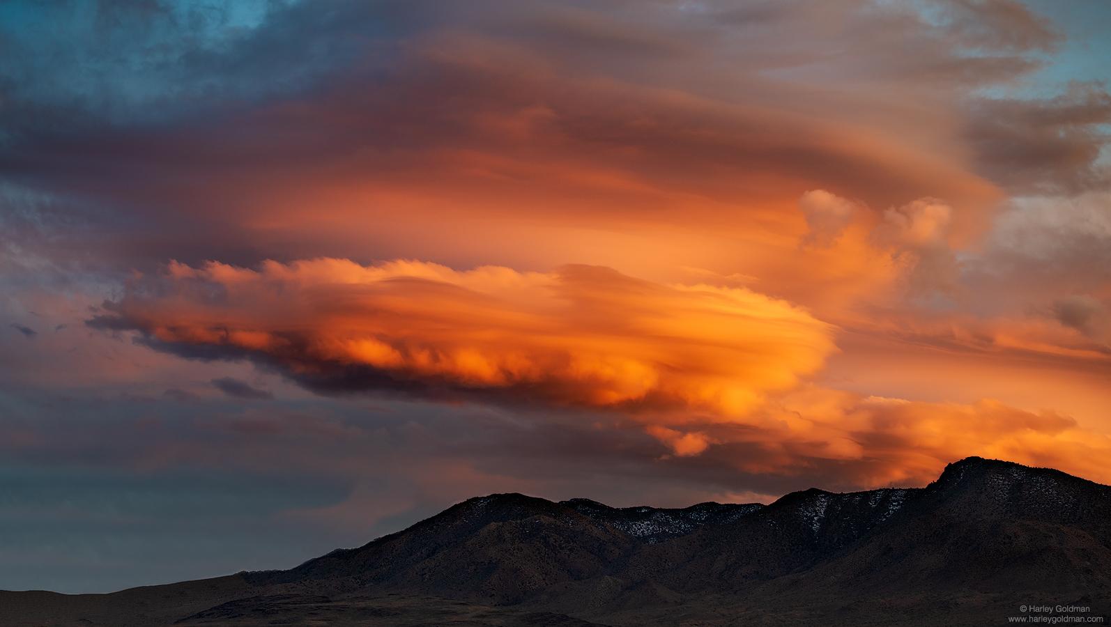 death valley, billowing, orange, cloud, sunset, desert, evening, lenticular