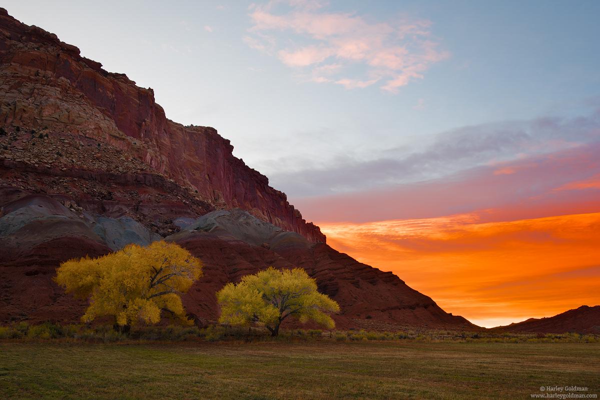 sunrise, Utah, pasture, fall, autumn, cottonwood, color, cloud, rock, sandstone