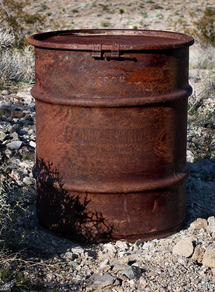 I found this cyanidebarrelin a wash downstream from a crude mine.