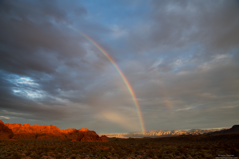 Nevada, red, rock, rainbow, sunset, clouds, sky