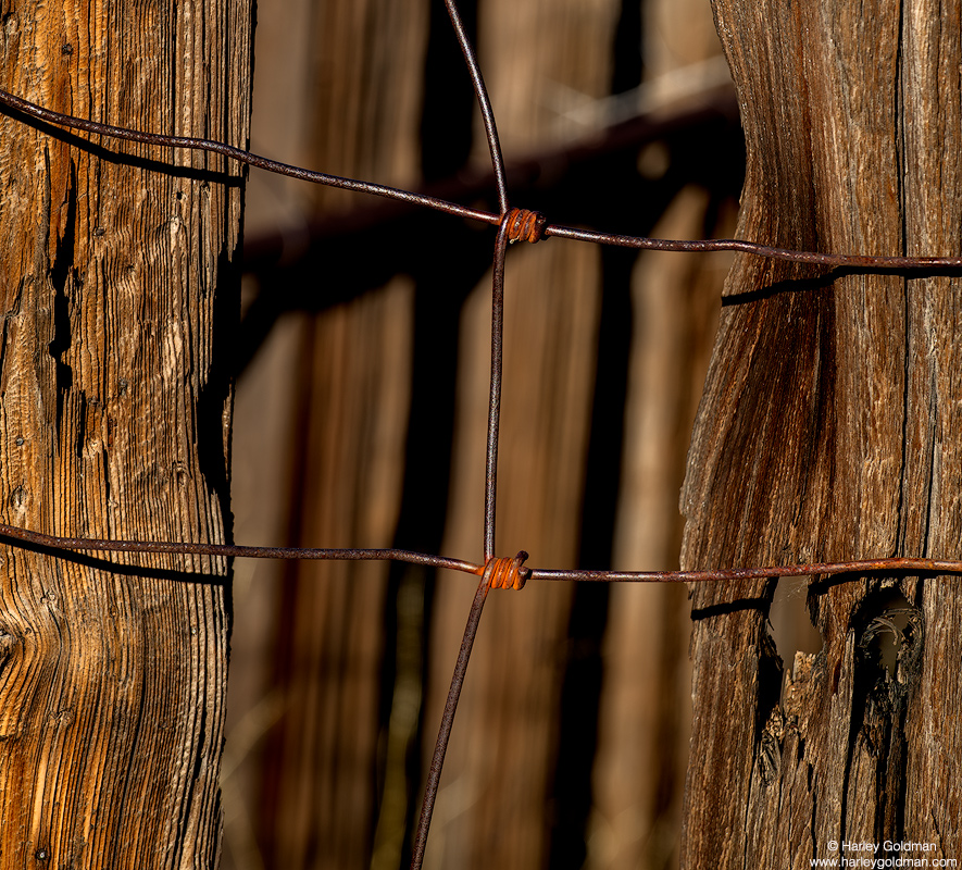 Twisted fence wire on an old corral