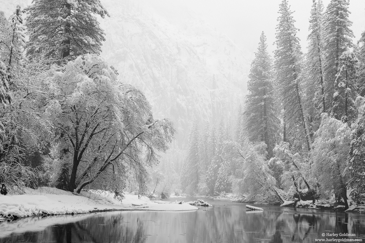 merced, river, snow, yosemite, valley, photo