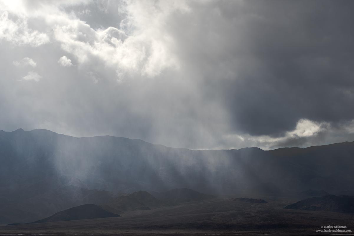 death valley, national, park, sunbeam, mountains, cloud, rain, desert