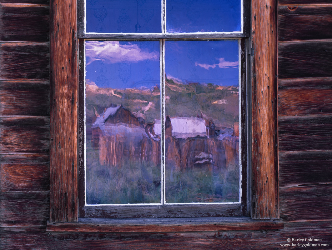 bodie, state, historical, park, glass, watercolor, reflection, window, photo