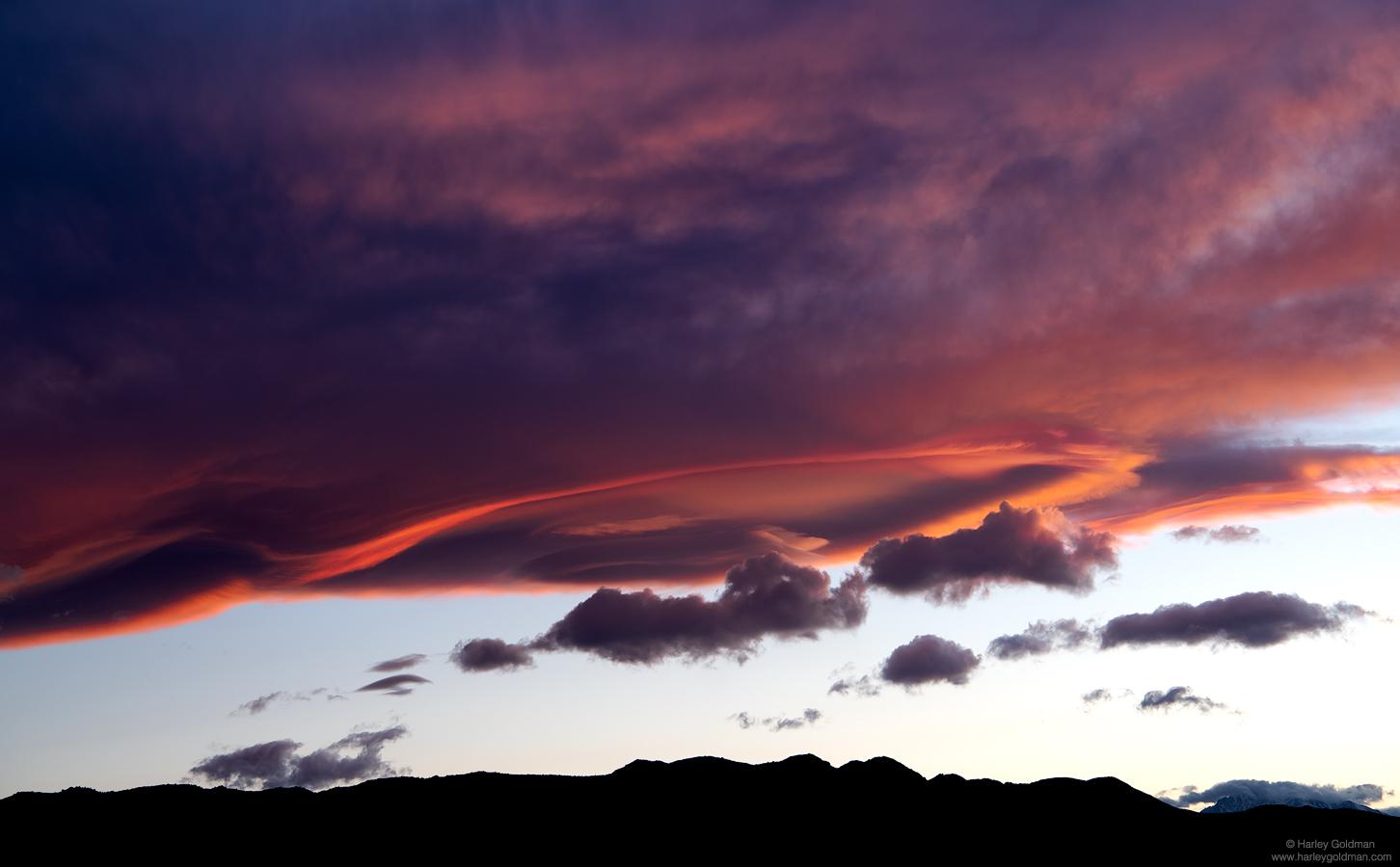 death valley, desert, cloud, lenticular, mountain, sunset, evening